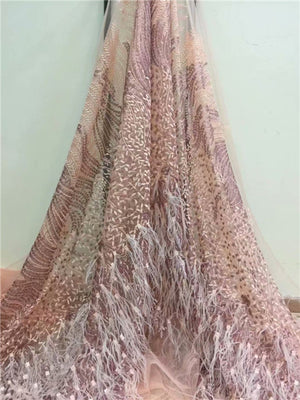 New high quality embroidered feather lace fabric, 2018 French lace with sequins lace material, African wedding dress