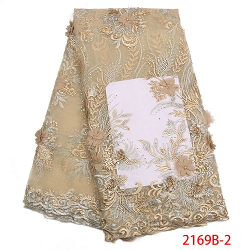 New style African French 3D lace fabric Fashion embroidery Tulle Mesh lace fabric for Wedding Nigerian lace fabrics  NA2169B-1