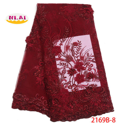 Image of New style African French 3D lace fabric Fashion embroidery Tulle Mesh lace fabric for Wedding Nigerian lace fabrics  NA2169B-1