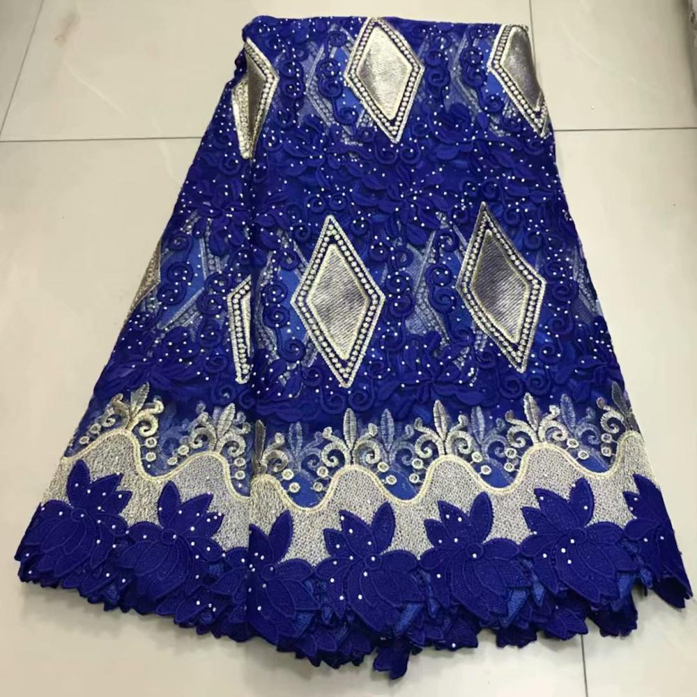 Newcoming 2019 african net tulle  lace with stones for wedding dresses Nigerian African tulle lace fabric      DFSE212