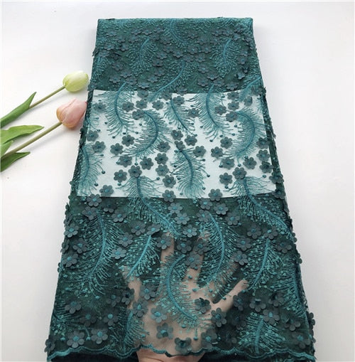 Newcoming 5yards unique African net tulle lace with 3D flowers Nigerian French lace fabric high quality You will like  HSIAU094