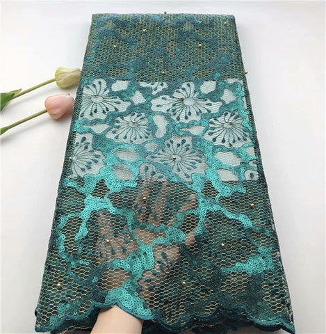 Image of Newcoming African sequins  Lace Fabric With Sequins Embroidery Tulle Voile Lace Fabric net tulle  Lace With Sequin  HSIJUL283