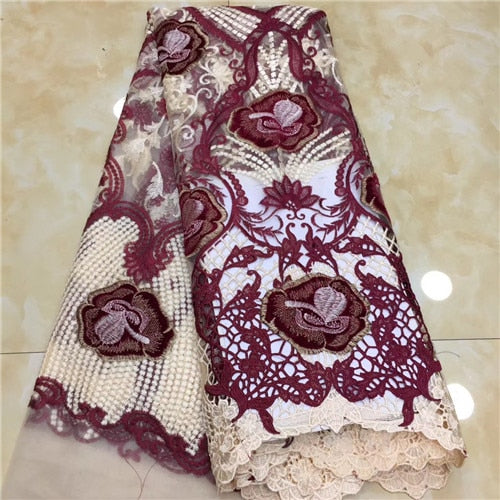 Newcoming african net tulle lace fabric 5yards good quality african french lace fabric for wedding or party dress   XZXSE081