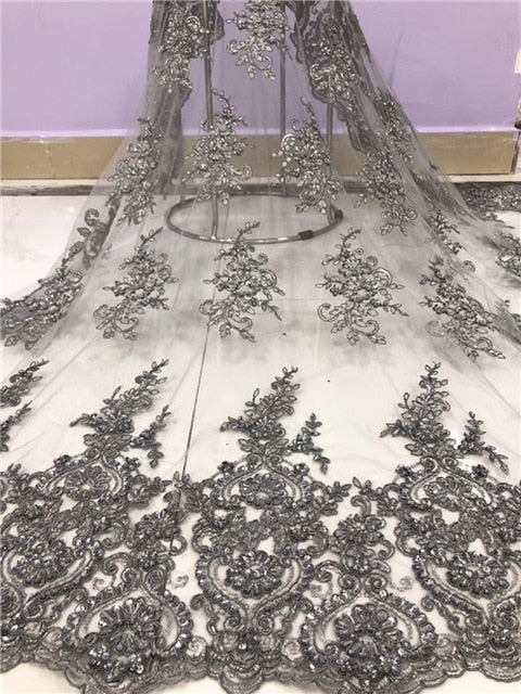 Newcoming african net tulle lace fabric with beads tube fashion rope embroidered wedding french lace fabric with beads DPJUL052