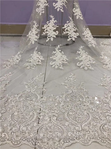 Image of Newcoming african net tulle lace fabric with beads tube fashion rope embroidered wedding french lace fabric with beads DPJUL052