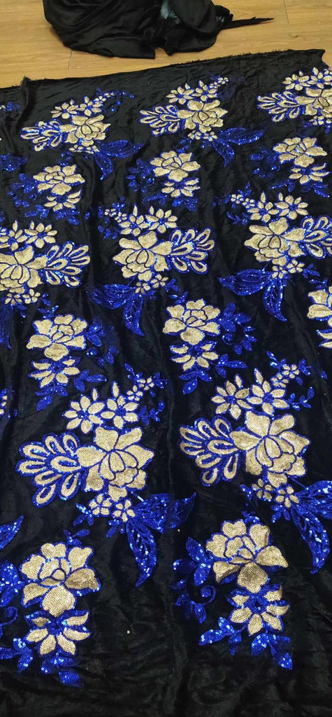 Newcoming embroidery sequins velvet lace fabric 5yards flowers sequins velvet lace for wedding dress  ZCAP072