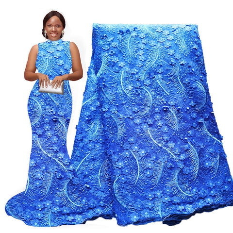 Image of Newest 3d flower african sequence lace fabric blue Nigerian lace fabric french tulle net lace fabrics for Party dresses