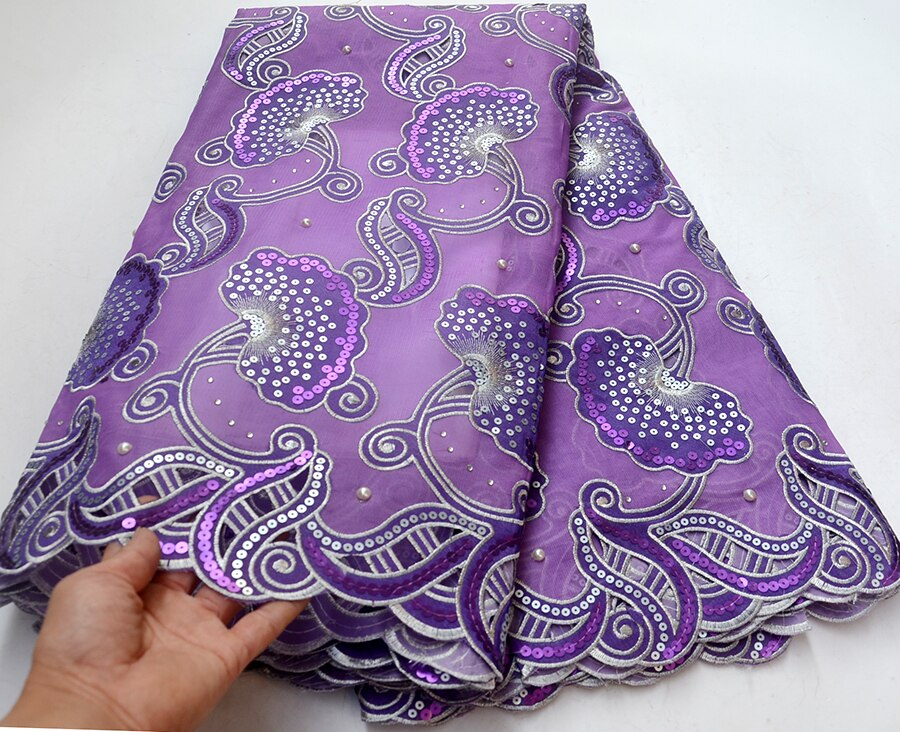 Newest African Lace Fabric With sequins 2018 Latest Purple Organza Lace Fabric High Quality Embroidered Tulle Lace Fabric