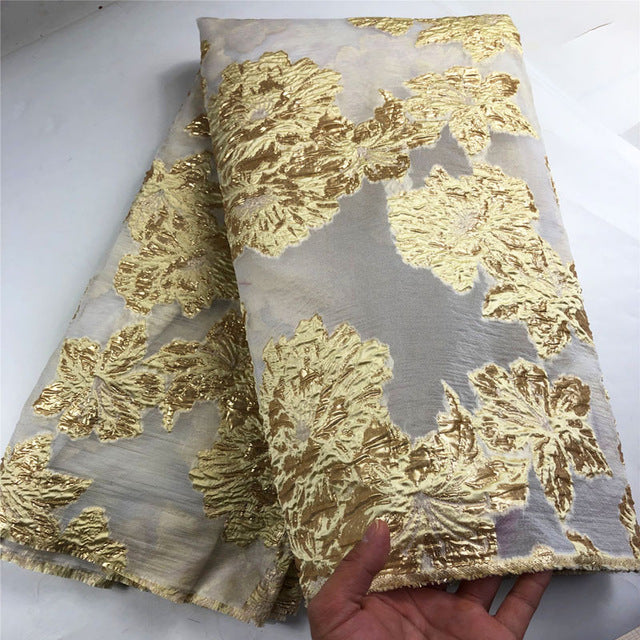 Newest African organza lace fabric with sequins high quality french tulle mesh lace fabric embroidery for party dress  COP-0017