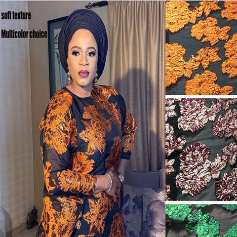 Image of Newest African organza lace fabric with sequins high quality french tulle mesh lace fabric embroidery for party dress  COP-0017