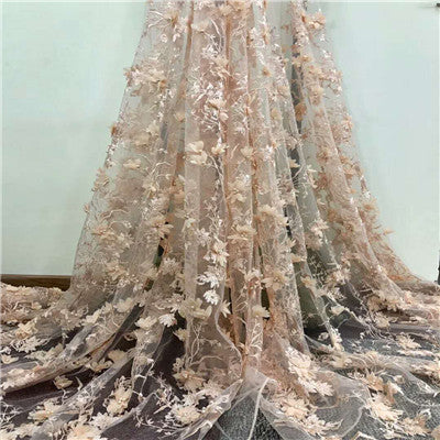Image of Newest  Superior quality  French Tulle Lace Fabric  with beads  Nigerian  3D Flowers  Mesh Lace Fabric for dress  HX786-1