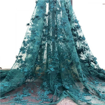 Newest  Superior quality  French Tulle Lace Fabric  with beads  Nigerian  3D Flowers  Mesh Lace Fabric for dress  HX786-1