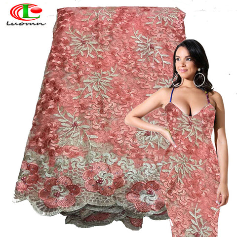 Image of Nigerian French Lace Fabrics 2018 African Tulle Lace Fabric High Quality African Lace Wedding Fabric For Dress