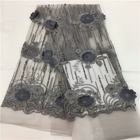 Image of Nigerian Lace Fabric 2018 High Quality 3d Flower Fabric African Beautiful Mesh Lace Fabric With sequins for wedding dress rf11-2