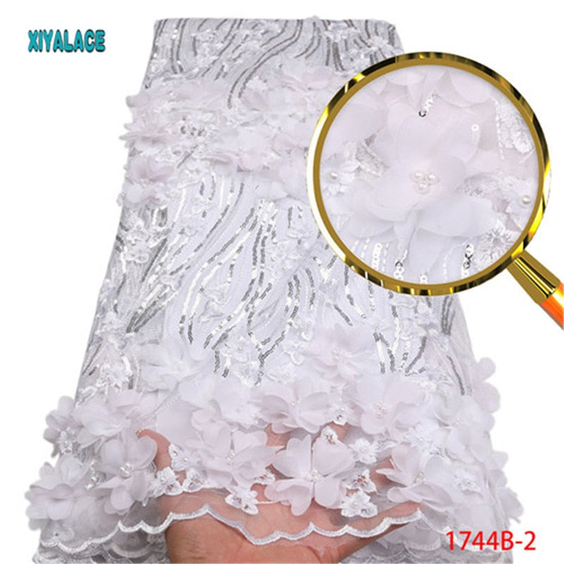 Nigerian Lace Fabric 2018 High Quality Lace 3d Lace Fabric Wedding White African With Beads Nigerian French Lace Fabric PGC1744B