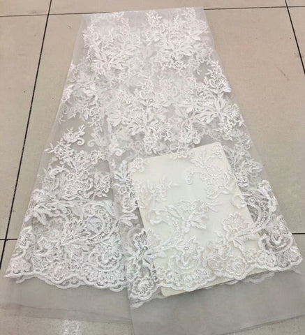 Image of Nigerian Lace Fabric 2018 High Quality Lace Soft African French Tulle Lace Fabric Embroidered African Lace Materials MJKY175