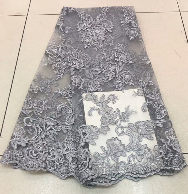 Nigerian Lace Fabric 2018 High Quality Lace Soft African French Tulle Lace Fabric Embroidered African Lace Materials MJKY175