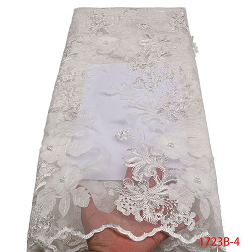 Nigerian Lace Fabric 2018 High Quality Sky Blue African Lace Fabric Pink Tulle Lace Beautiful African Laces Dresses NA1723B-1