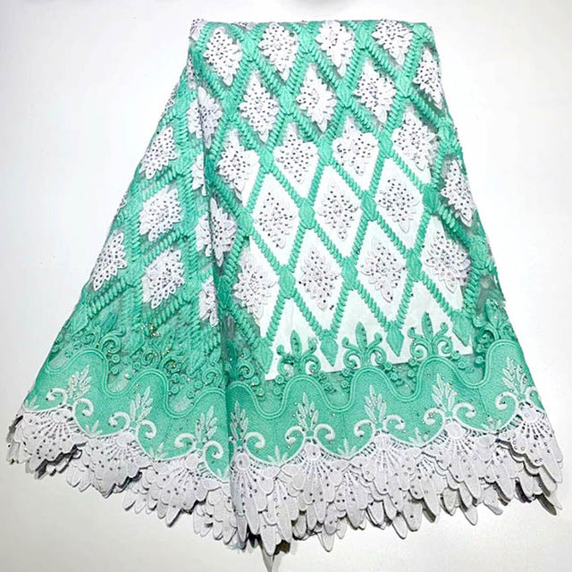 Nigerian Lace Fabric 2019 High Quality Lace stone Embroidery 3d Lace Fabric 5yards French African Bridal Lace Fabric