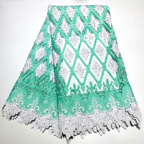Image of Nigerian Lace Fabric 2019 High Quality Lace stone Embroidery 3d Lace Fabric 5yards French African Bridal Lace Fabric