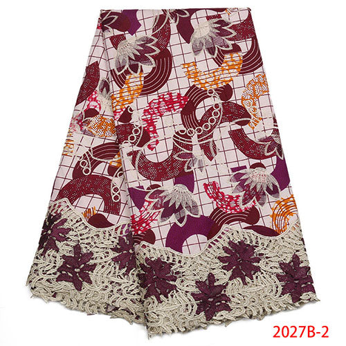 Nigerian Lace Fabrics 2018 High Quality African Lace Fabrics Wax And Lace Embroidery Guipure Lace Fabrics with Beads NA2027B-1