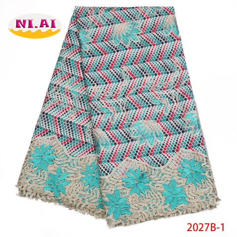 Image of Nigerian Lace Fabrics 2018 High Quality African Lace Fabrics Wax And Lace Embroidery Guipure Lace Fabrics with Beads NA2027B-1
