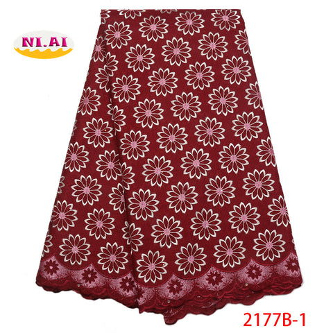 Image of Nigerian Lace Fabrics 2018 Hot Sale African Swiss Voile Lace High Quality Cotton Swiss Voile Lace In Switzerland NA2177B-1