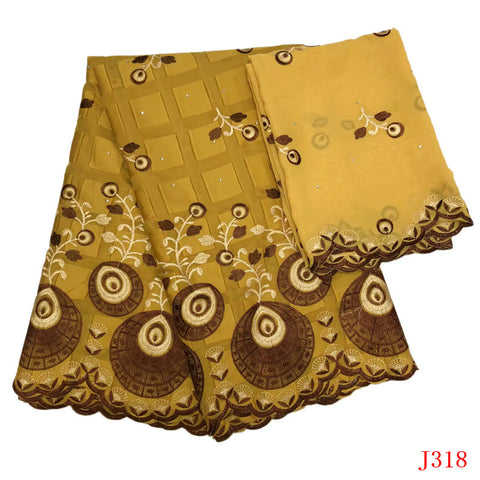 Image of Nigerian Lace Fabrics 2019 Bazin Riche Getzner Gold Nigeria Cotton Embroidered High Quality Wedding African Lace Fabric HA318