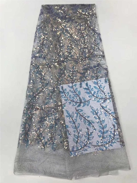 Nigerian Lace Fabrics Glitter Fabric African Sequence Lace Fabric Fashion Soft Fabric For Lace Evening Dresses DPA6