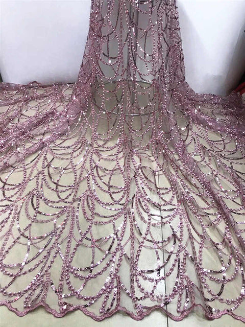Nigerian Net Lace Fabric 2019 High Quality Sequin Lace African Wedding Lace Fabrics French Tulle Lace With Beads FJA25-3