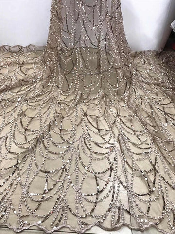 Image of Nigerian Net Lace Fabric 2019 High Quality Sequin Lace African Wedding Lace Fabrics French Tulle Lace With Beads FJA25-3