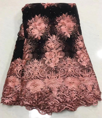 Image of Nigerian Pink Sequins Net Lace African Guipure Lace Fabric Latest French Swiss Voile Laces 2019 India Women Wedding Dress Fabric