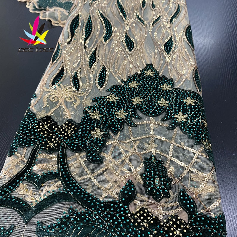 Nigerian Sequins Velvet Lace Fabrics Emerald Green Mesh Lace African Fabric Lace for Women Wedding Party Dress XZ3236B