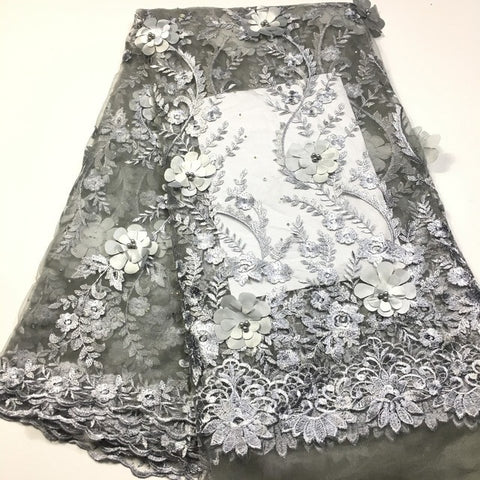 Nigerian lace fabric 2020 high quality lace/ 3d lace fabric african lace fabric with beaded M2843 Embroidered tulle lace fabric