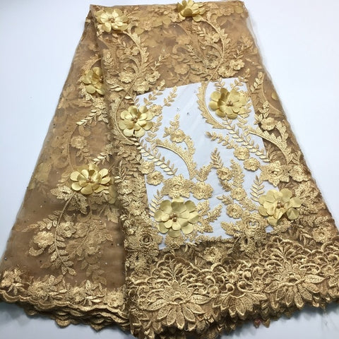 Image of Nigerian lace fabric 2020 high quality lace/ 3d lace fabric african lace fabric with beaded M2843 Embroidered tulle lace fabric