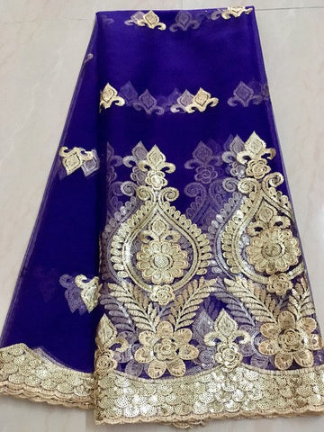Image of Nigerian laces Fabric 2017 Gold African Green Cord Laces Fabrics With Sequins High Quality Nigerian Lace For Wedding Dress L1226