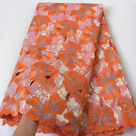 Image of Orange Big African Handcut organza lace fabric with allover sequins metallic lurex 5 yards 7101