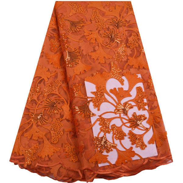 Orange French Flannelette Lace Fabric High Quality African Dry Lace Fabric With Sequins For Nigerian Party Dress F1650