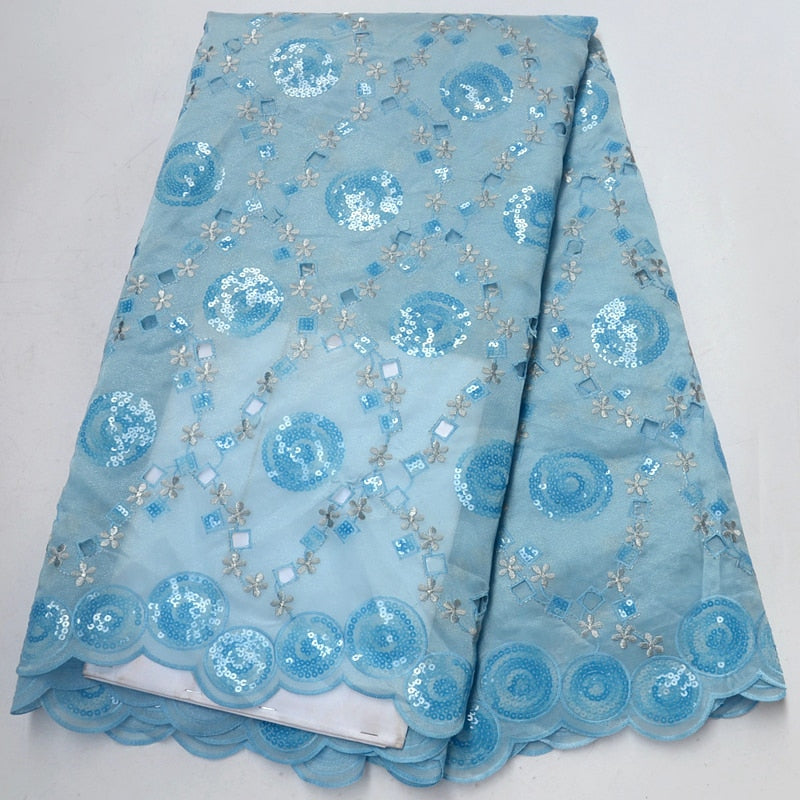 Organza Lace In Switzerland Double Organza Lace With Sequins Beaded Fabric High Quality Nigerian Lace 5yards For Women