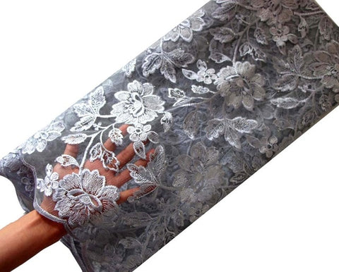 Image of Ourwin African Lace Fabric 2018 Embroidered Nigerian Laces Fabric High Quality French Tulle Lace Fabric For Women Dress
