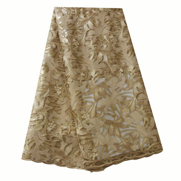 Ourwin African Lace Fabric Gold African Lace Fabric 2019 High Quality Lace Seqins Stones Beads Latest African Laces Fabrics