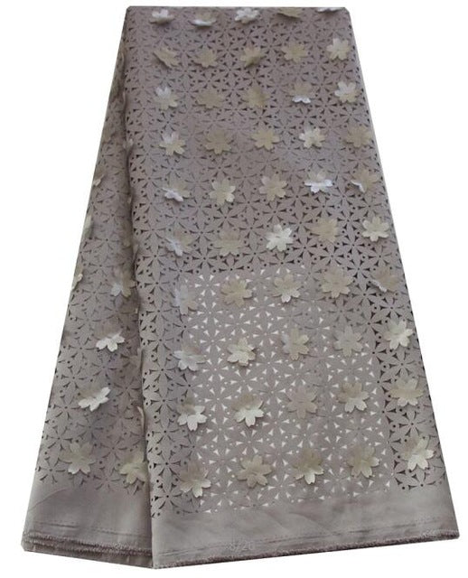 Ourwin Clearance Sale 3d Laser Cut Lace Fabric with Flowers Wine Sky Blue Grey African Lace Fabric for Bridal Wedding Dresses