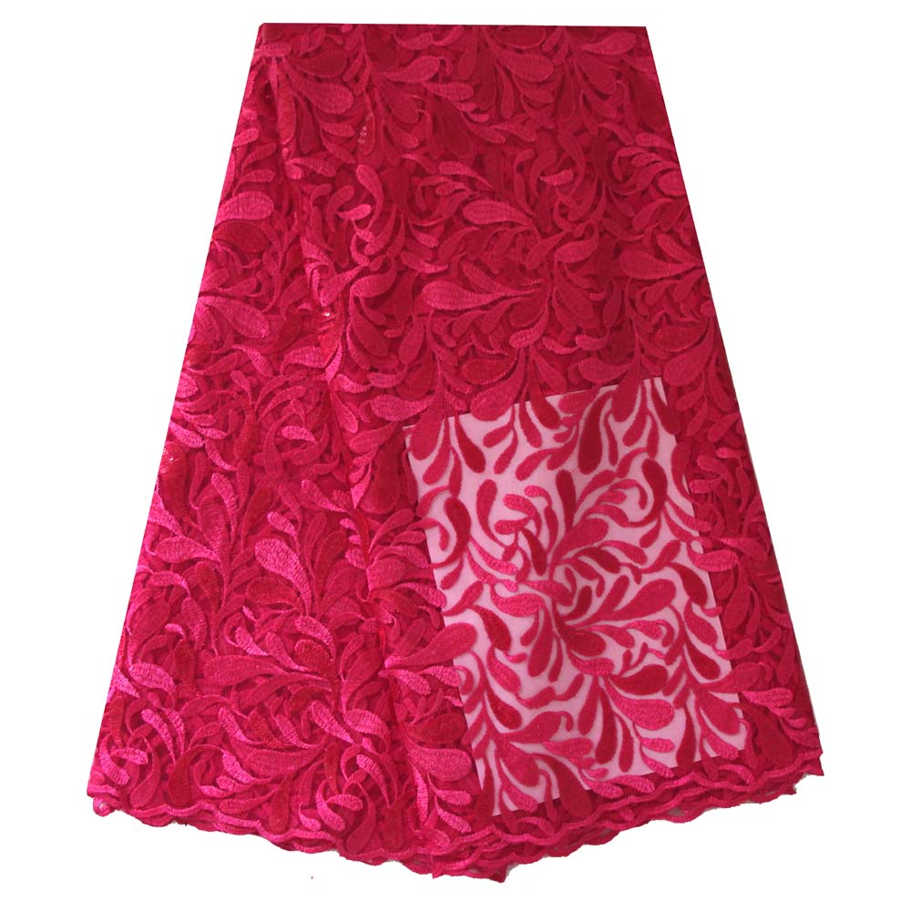 Ourwin Clearance Sale Fushia Pink Heavy French Lace Fabric High Quality African Lace Fabrics Embroidered Sequins for Aso Ebi