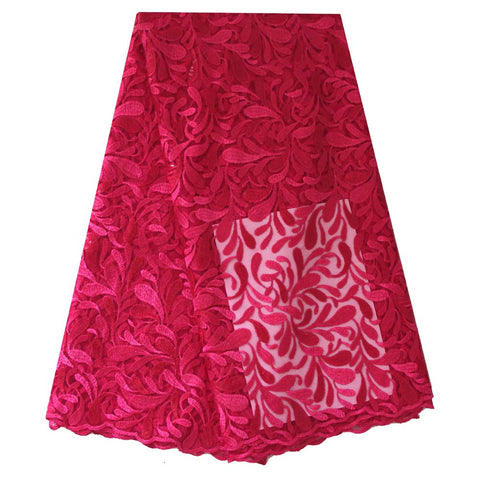 Image of Ourwin Clearance Sale Fushia Pink Heavy French Lace Fabric High Quality African Lace Fabrics Embroidered Sequins for Aso Ebi