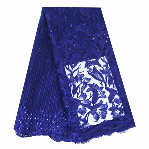 Image of Ourwin Latest High Quality African Tulle Lace Fabric 2019 Royal Blue Beads Stones Nigerian Aso Ebi Bridal French Laces Fabrics
