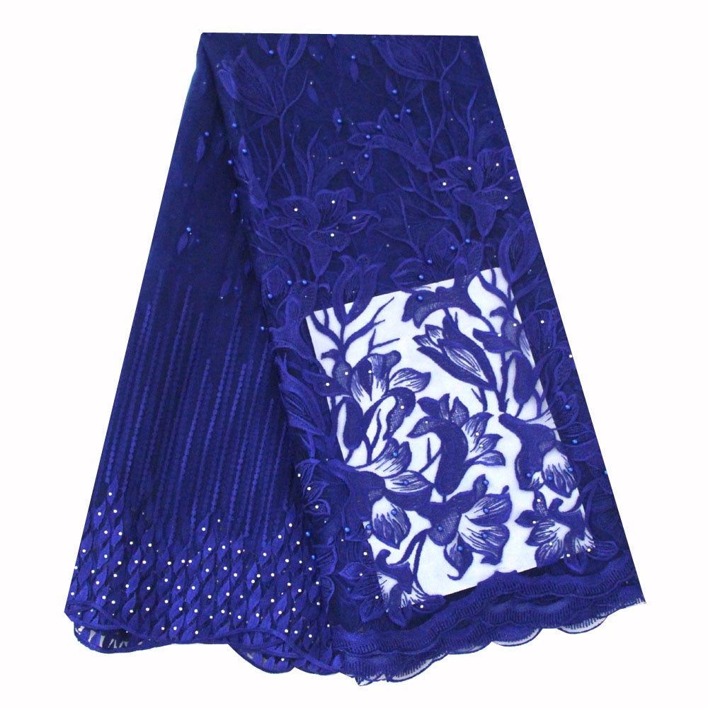 Ourwin Latest High Quality African Tulle Lace Fabric 2019 Royal Blue Beads Stones Nigerian Aso Ebi Bridal French Laces Fabrics