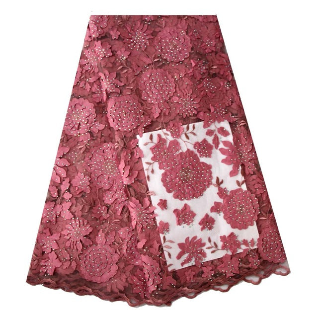 Ourwin New Fashion French Laser Cut Lace Fabric with Nigerian Blush Pink Lace Fabric for Dresses Beautiful Handcut Voile Lace
