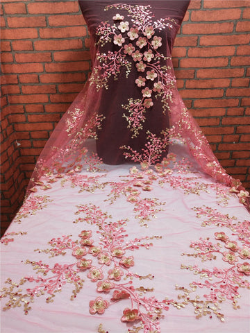 Image of Pink African Lace Fabric 2019 High Quality French Tulle Wedding Lace African Net Lace Fabric With Embroidery 3D embossed flower