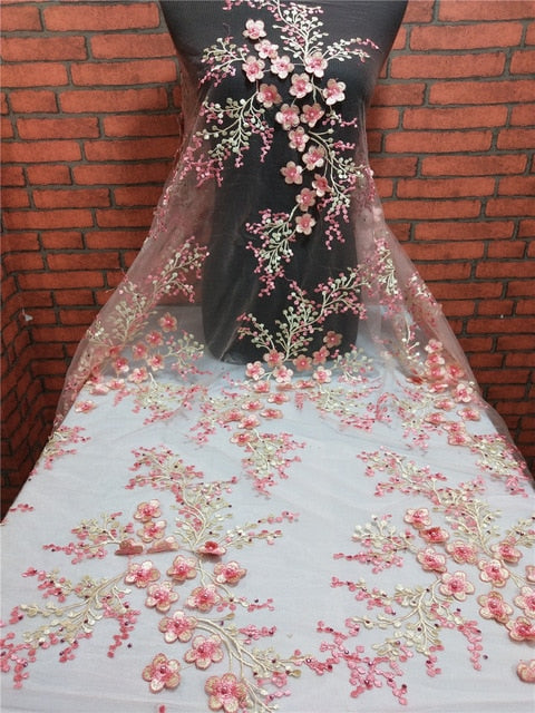 Pink African Lace Fabric 2019 High Quality French Tulle Wedding Lace African Net Lace Fabric With Embroidery 3D embossed flower