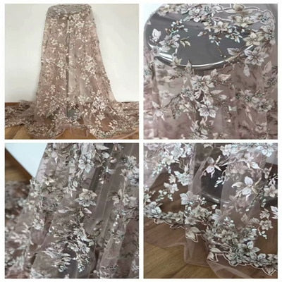 Image of Pink lace fabric 3D African Flower Embroidered Tulle Lace, Pearls African Lace Fabric 2018 High Quality Handmade lace H1453